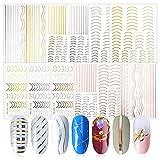 FLOFIA 12 Fogli Nastri Adesivi Unghie Striping Nail Art Nastri di Linea Striping per Unghie French Nail Art Autoadesivi Decorazioni Fai da Te Accessori Adesivi Unghie Manicure Nail Art Oro&Argento