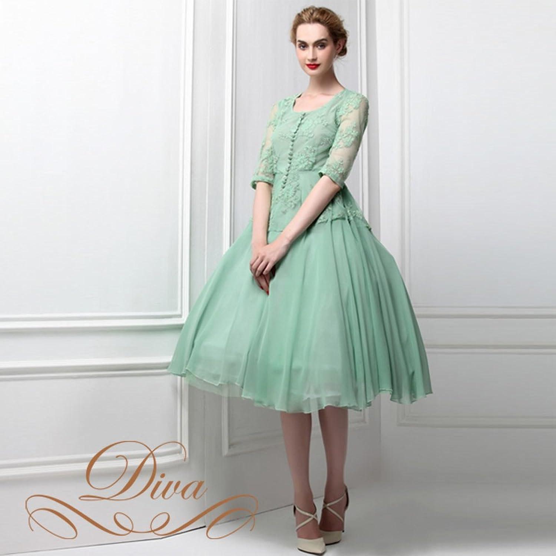 パーティードレス Party dress レース刺繍 袖付き ミディアム ドレス 大きいサイズ