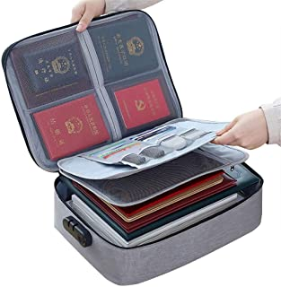 Waterproof Document Bag,ShowTop 3-Layer Document Storage Bag with Password Lock,A4 Letter Size Document Holder,Filing Pouc...