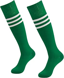 Solid Soccer Socks, SUTTOS Adult Teens Cotton Unisex Cushioned Athletic Over The Calf Soccer Rugby Football Team Soccer Long Tube Socks Green,2 Pairs …