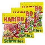 Haribo Kinder Schnuller, 3er Pack, Gummibärchen, Weingummi, Fruchtgummi, Im Beutel, Tüte