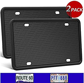 Synrroe 2-Pack Silicone License Plate Frame Rust-Proof. Rattle-Proof. Weather-Proof. - Black