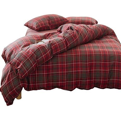 Luxury Plaid Flannel Bedding Duvet Cover Set Queen King Size Red 3 PC Grid Pattern Duvet Cover Set King Size-Soft Velvet Boys Girls Comforter Duvet Cover,Lightweight Comfortable,King