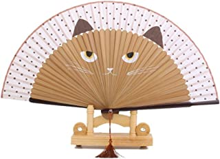 PIXNOR Silk Bamboo Cartoon Cat Folding Fan Hand Painted Fan (Brown)
