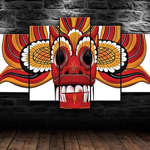 Cuadro Sobre Lienzo 5 Piezas Impresión En Lienzo Ancho: 150Cm, Altura: 100Cm Listo Para Colgar-Máscara De Diablo De Sri Lanka En Un Marco