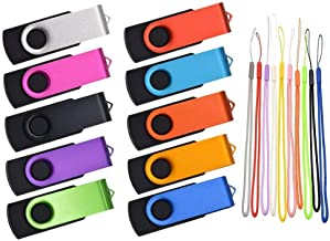 Thumb Drive 16GB 10 Pack USB Flash Drives Bulk, Kepmem Metal Swivel USB 2.0 Memory Stick Portable 16 GB Zip Drive with Multicolor Lanyards for Data Storage