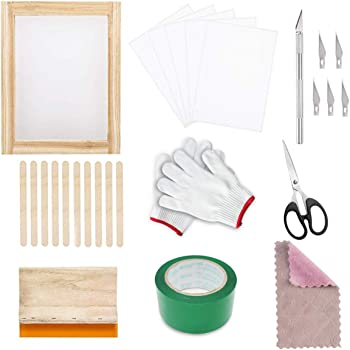 Screen Printing Set,Silk Screen Frame,69 Pieces Durable Safe DIY Silk Screen Frame Mesh Printing Kit Print Starter Tool Set with Squeegee