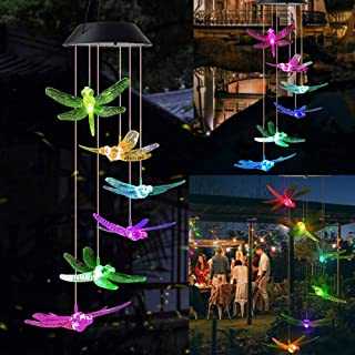 DRNAIETY Hummingbird Wind Chime Waterproof Color Changing Solar Powered LED Mobile for Home Garden Outdoor Patio Party Nig...