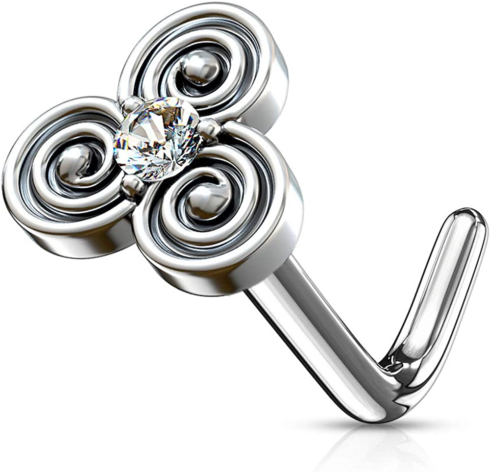 Amelia New York Mall Fashion 20 Gauge CZ Centered L Circles Stacked 1 year warranty Nose Stud