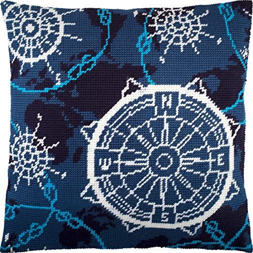 Kit de punto de aguja de navegación 40,6 x 40,6 cm, lienzo de tapiz impreso, calidad europea