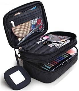 Cosmetics Bag, Double Layer Makeup Bag with Mirror Beauty Makeup Brush Bags Travel Kit Organizer,Cosmetic Bag Professional...
