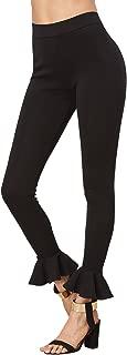 Women's Casual High Waist Leggings Ruffle Hem Stretchy Work Pants