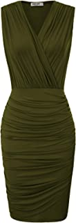 GRACE KARIN Women Retro Sleeveless Ruched Wrap Party Pencil Dress