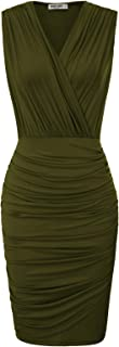 Women Retro Long Sleeve Ruched Wrap Party Pencil Dress