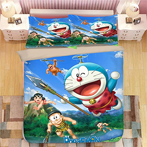 NICHIYO Doraemon - Juego de cama de 3 piezas con funda nórdica 3D – Juego de 3 piezas (funda nórdica + 2 fundas de almohada), grueso y suave (1 individual 140 x 210 cm)