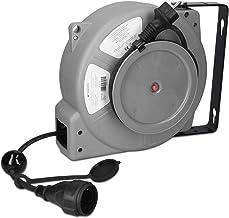 Navaris Carrete enrollador de cable automático con enchufe 15M - Enrollacables eléctrico con grado de protección IP44 - Para montaje en pared