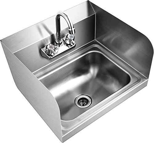 """popular Giantex Stainless Steel wholesale Hand Washing Sink, Wall Mount Hand Sink w/ Faucet, Side Splash, Stainer, Two Temperature Water Inlet, 17"""" x 15"""" Commercial Hand Sink for new arrival Restaurant, Kitchen outlet online sale"""