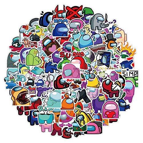 Ailin Online Hot Among US Game Over Pegatinas decorativas impermeables para ordenador portátil, almohadilla, monopatín, teléfono móvil, funda de viaje, equipaje, bicicleta, guitarra, paquete de 100