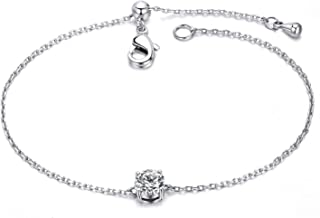 Birthstone Bracelet White Gold Plated Cubic Zircon Adjustable Bangle 12 Color Gifts for Women Girls
