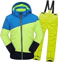 LSERVER Boy's 2-Piece Snow Pants and Jacket Snowsuit Ski Suit Girl's Waterproof Windproof Ski Jacket