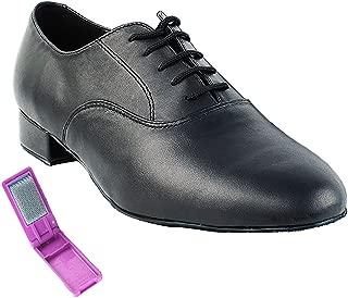 Very Fine Ballroom Latin Tango Salsa Dance Shoes for Men 919101W 1 inch Heel + Foldable Brush Bundle