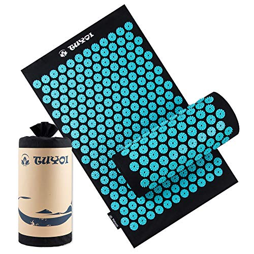 TUYOI Acupressure Mat and Pillow Set Back/Neck Pain Relief Massage Cushion for Muscle Relaxation