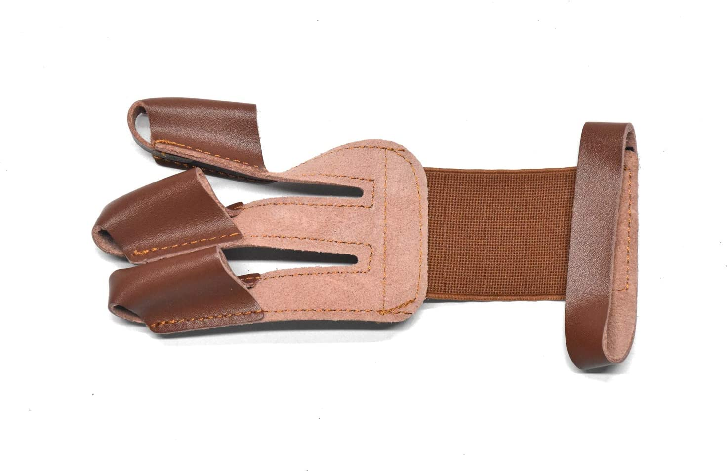 Windfulogo Leather Archery Hand Glove Finger Tab Hand Guard Protector Long Bow for Right Hand 3 Fingers Brown : Sports & Outdoors