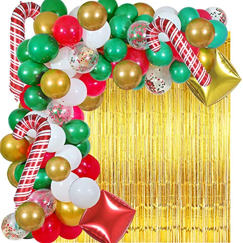 Christmas Balloon Garland Arch kit 112 Pieces with Christmas candy Cane Foil Balloons,Boxes Foil Balloons,Tinsel Fringe Foil Curtains,Red Green White Gold confetti Balloons for Christmas Party Decorations