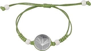 FAADBUK Real Dandelion Handmade Rope Bracelet Crystal Clear Glass Charm Dandelion Pendant Bracelet Make A Wish Dandelion J...