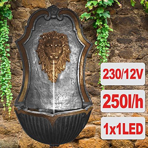 Gartenbrunnen Brunnen Zierbrunnen Wandbrunnen Brunnen Baumstumf & Steinschalen mit LED-Licht 230V Wasserfall Wasserspiel für Garten, Terrasse, Balkon Sehr Dekorativ (LÖWEN-BRUNNEN)
