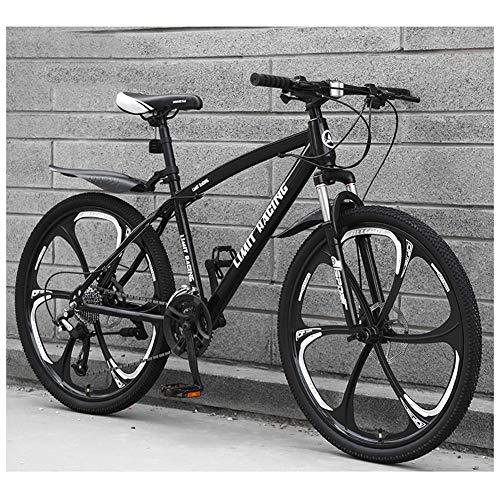 KXDLR Bicicleta de montaña, 26 Pulgadas Ruedas de Bicicleta Edad, Estructura de aleación de Aluminio desplazable Bloqueo Delantero Tenedor-Suspensión de Bicicletas de montaña,Negro,27 Speed