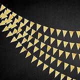 40 ft - Banderas triángulo de oro de doble cara de papel metalizado, banderines para boda, baby shower, cumpleaños, despedidas de soltera y aniversario