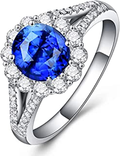 Luxury Simulated Blue Sapphire Ring Open Adjustable Halo Ring Cubic Zirconia CZ Women's Engagement Ring Chic Birthstone Ha...