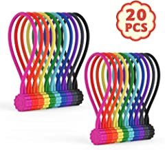 Rich&Ray Reusable Silicone Twist Ties with Strong Magnet for Bundling and Organizing, Can Be Used in Many Ways or Just for Fun (10 Colors-20 Pack)