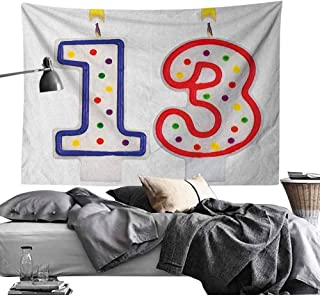 Maureen Austin Home Decor Tapestries Wall Art 13th Birthday,Cute and Sweet Colorful Burning Candles Number Thirteen Party Objects Print, Multicolor,for Living Room Bedroom Dorm 71