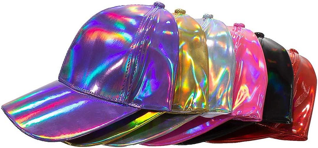 BAIELFES Shining Pu Solid Color Laser Baseball Cap Unisex Snapback Hats
