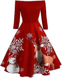 Christmas Vintage Print Flare Dress Women Off Shoulder Evening Party Dresses E-Scenery
