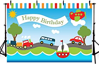 MEHOFOTO Transportation Boy Birthday Party Backdrop Automobile Train Airplane Boat Car Bus Happy 1st Birthday Blue Sky White Cloud Trees Photography Background Photo Booth Banner 7x5ft