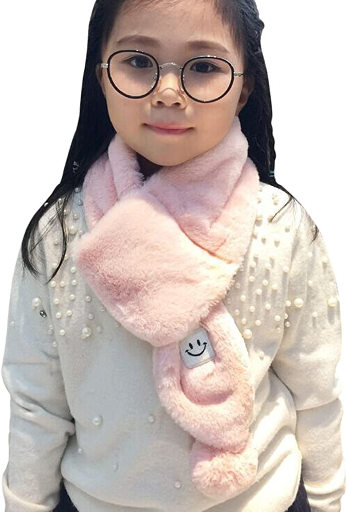 Winter Neck Tie Soft Cold Weather Infinity Neck Warmer Girls Boys Fashionable Faux Fur Loop Childrens Faux Fur Fur Pull-Through Scarf Cozy Furry Fuzzy Classic Thick Wra Kids Fuzzy Stylish Neckwear Scarves surell Luxurious Warm Winter Collar