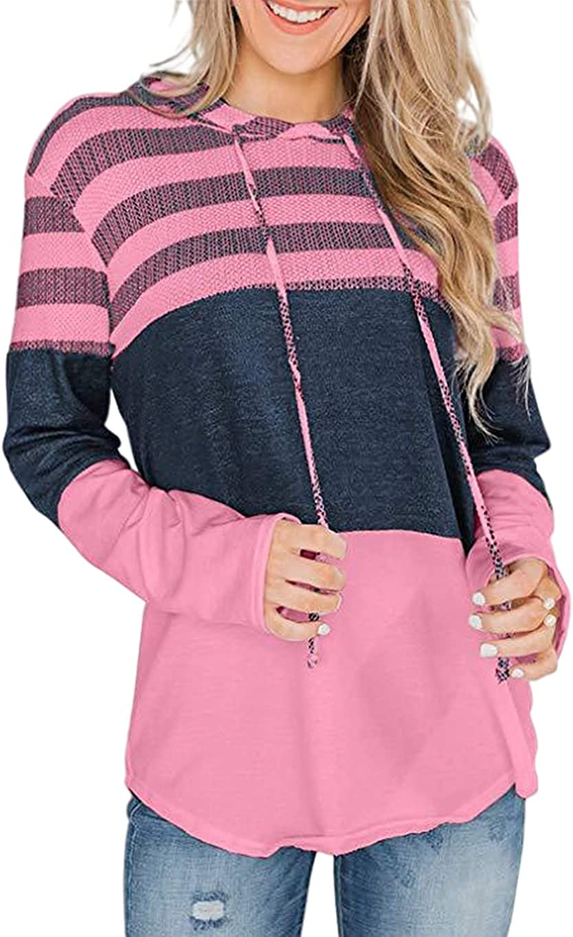 Bengbobar Women's Casual Color Block Hoodies Tops Long Sleeve Drawstring Pullover Sweatshirts