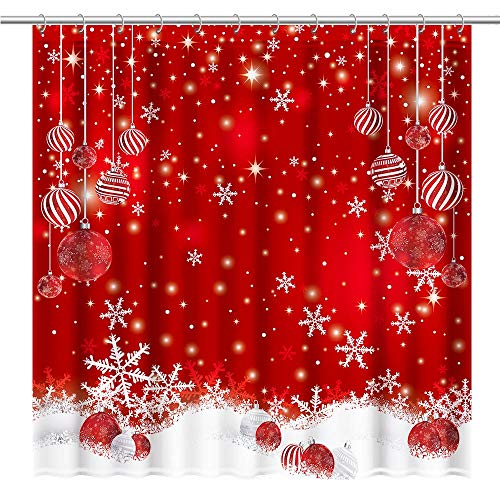 Allenjoy Red Christmas Snowflakes Shower Curtain Set...
