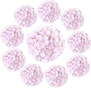 Luyue 10 Pack Silk Hydrangea Heads Artificial Flower with Stem Big Flower Arrangement for Home Decoration Wedding Centerpi...