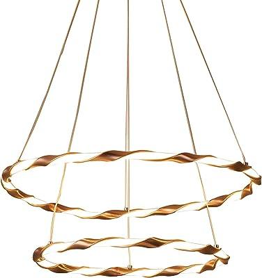 Lámpara colgante moderna LED blanca cálida Lámpara de araña redonda Diseño de 2 anillos Decoración Iluminación