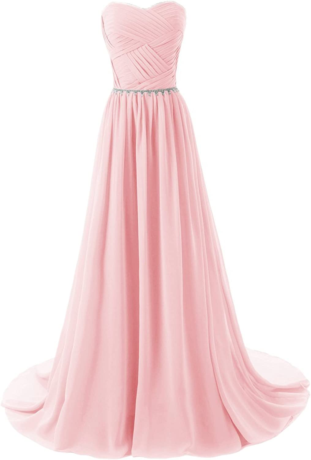 JoyVany Women Sweetheart Long Bridesmaid Evening Prom Dresses 2018 Formal Gowns Pink Size 8
