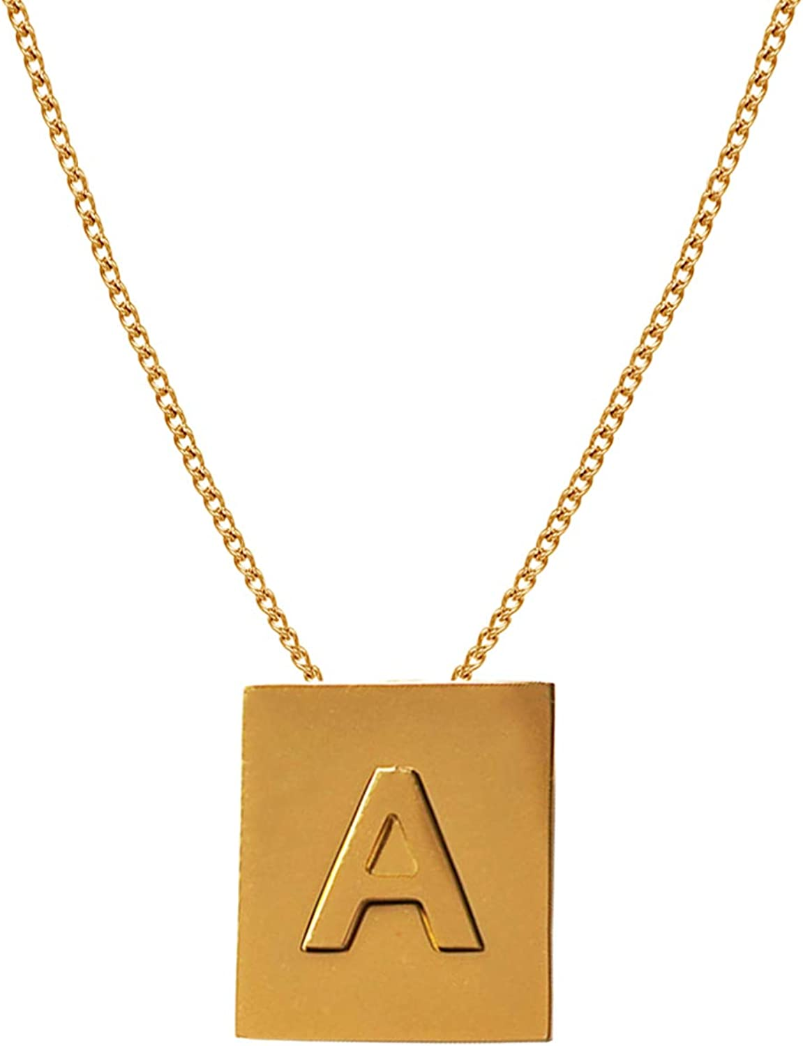Nkoluky Women Initial Necklace Engraved Tag 18k Gold Plated Personalized Letter Pendant Jewelry