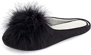 BCSTUDIO Women's Furry Feather Pom Memory Foam House Slippers with Non Slip Rubber Sole