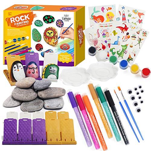 Kit de pintura de rocas para niños y adultos, proveedores de arte de rocas, pintar tus propias rocas, kit de pintura de rocas DIY, regalo de ideas para niños de 4 5 6 7 8 9 10