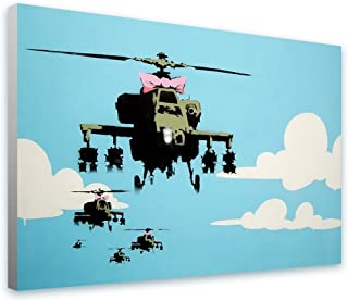 Alonline Art - Helicopter Apache by Banksy | print on 100% cotton canvas | Ready to frame (Rolled) | 36