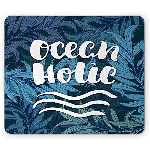 Mousepad Zitat Mauspad Pinsel Schriftart Ocean Holic Auf Tiefem Wasser Inspiriert Hintergrund Gummi Mousepad Weiß Blass Azurblau Und Petrolblau 25 X 30 Cm