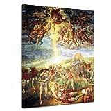 Wandbild Michelangelo Die Bekehrung des Saulus - 50x70cm hochkant - Alte Meister Berühmte Gemälde Leinwandbild Kunstdruck Bild auf Leinwand